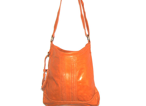 Leather Handbag, Tan colour with laced leather feature