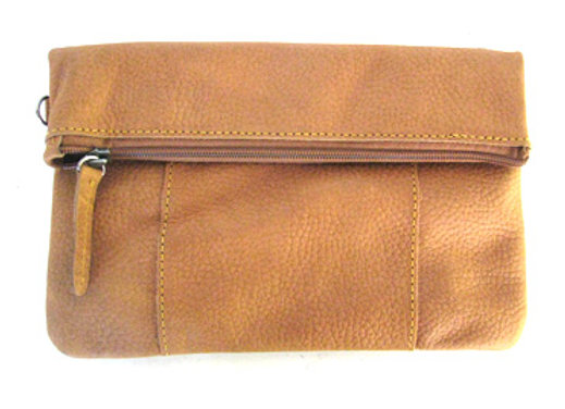 Leather Clutch fold and clip, Cognac
