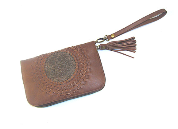 Leather Wallet, Light Brown with Mandella design