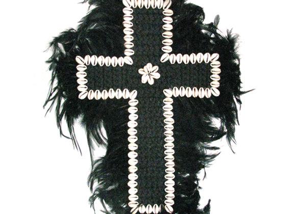 Macrame and Feather Crucifix