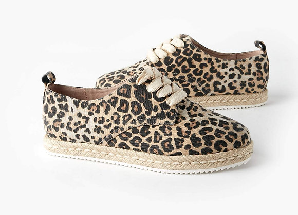Giselle Canvas Lace Up Espadrille - Leopard