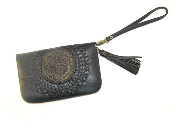 Leather Wallet, Black with Mandella design.