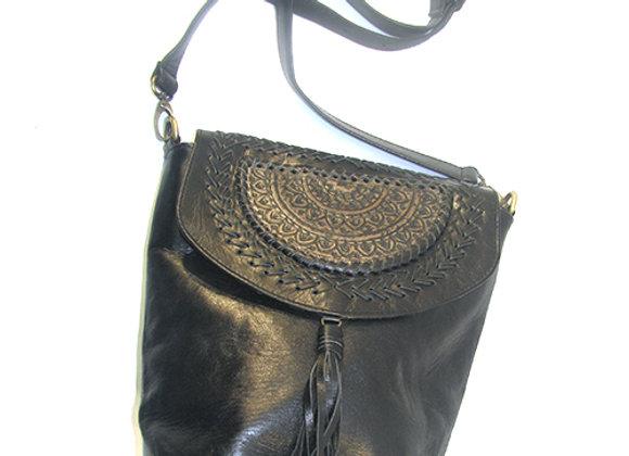 Leather Handbag Black with Mandela design