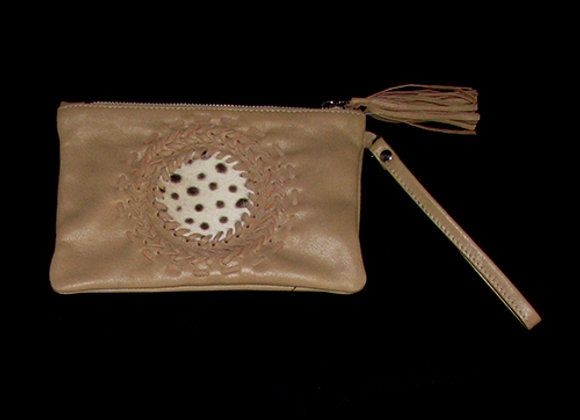 Leather Clutch, with cow hide insert