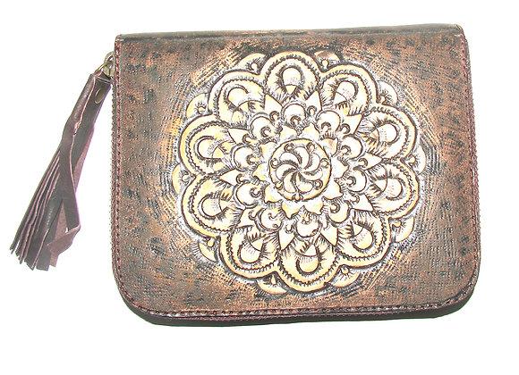 Wallet Brown carved Mandella, antique look.
