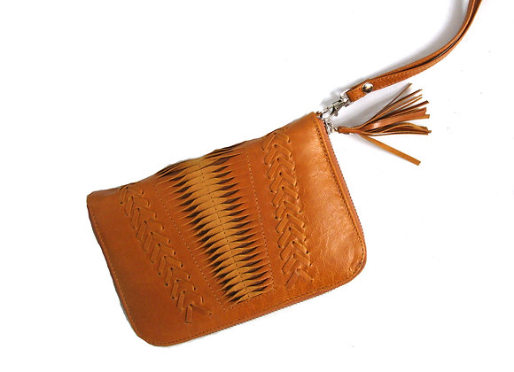 Leather Wallet, Camel with twist leathe