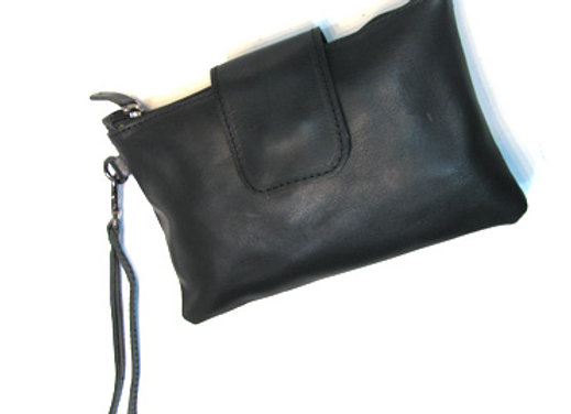 Leather Clutch, plain black with securing flap.