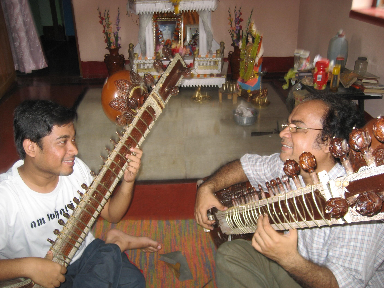 With Guru Pt. Debaprasad Chakraborty