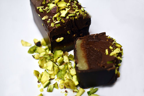Dark Chocolate Snacking Bar with Marzipan & Pistachio Centre