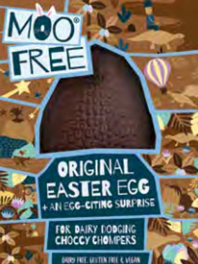Moo free alternative milk chocolate Easter egg with choccy chum surprise