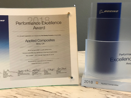 The Boeing Company congratulates Applied Composites for achieving superior supplier performance