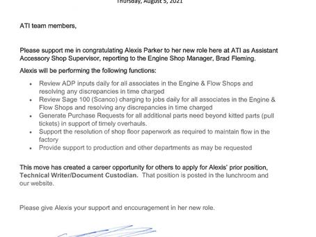 Congratulations, Alexis Parker
