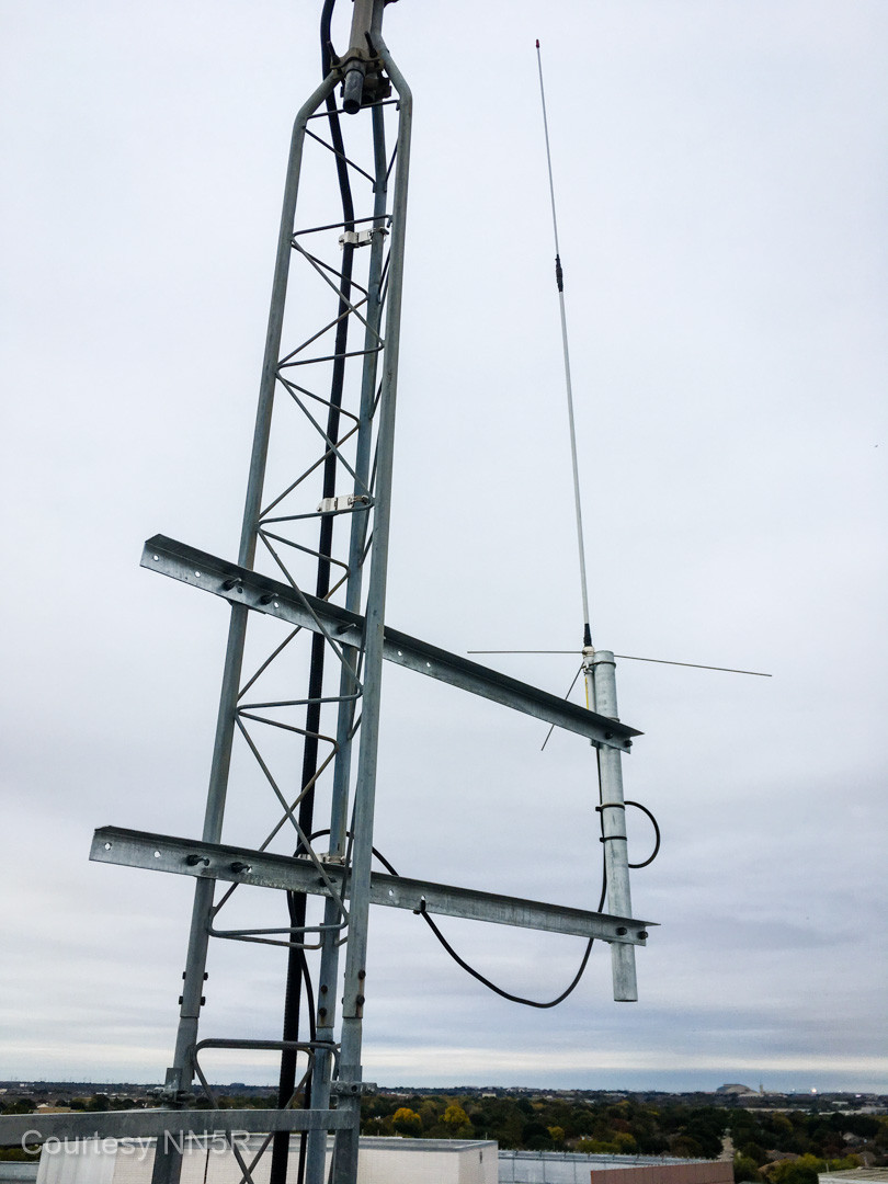 The 2m Winlink antenna from the roof.