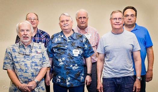 J. J. Henry, N5IMS; Andy Parcel, KE5KOF; David Gilpin, K5GIL; Mike Brown, W5MDB; Dave Lane, N5GDL; David Lewis, AC5DL