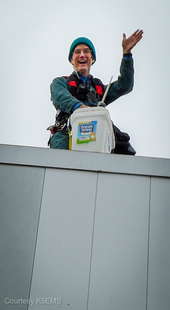 Ron, NN5R, greeting earth-dwellers high atop the Baylor penthouse.