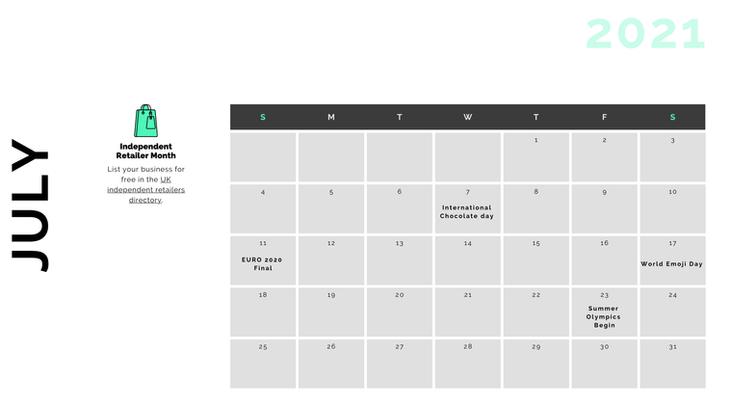 Retail Marketing Calendar 2021 - July