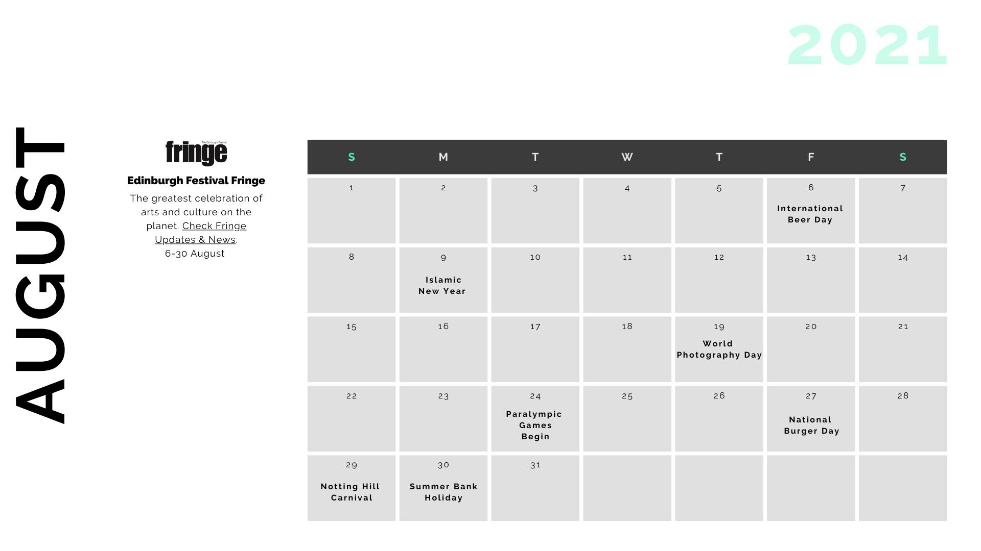 Retail Marketing Calendar 2021 - August