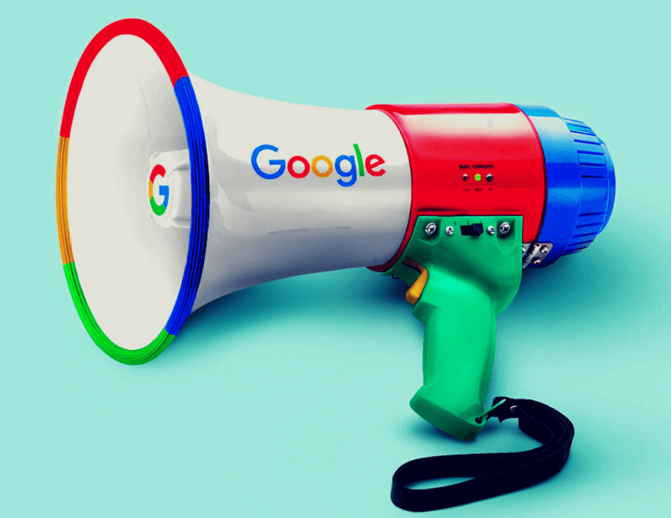 blue background with a megaphone with Google's branding