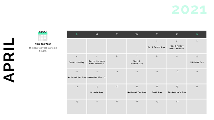 Retail Marketing Calendar 2021 - April