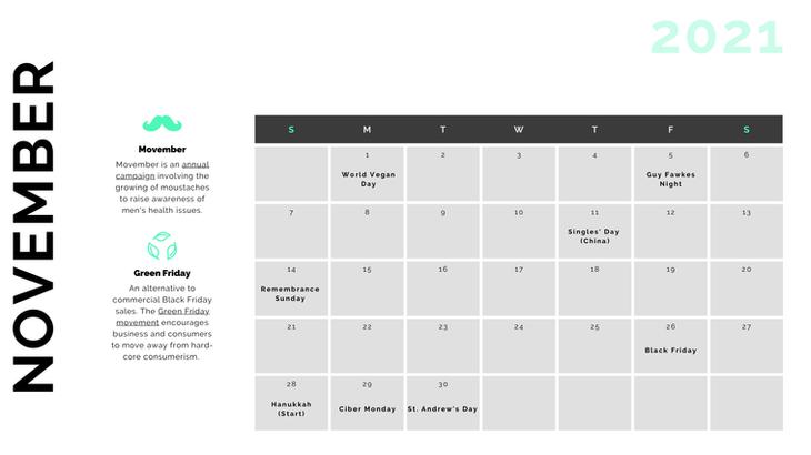 Retail Marketing Calendar 2021 - November