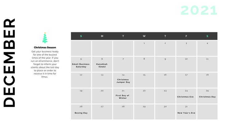 Retail Marketing Calendar 2021 - December