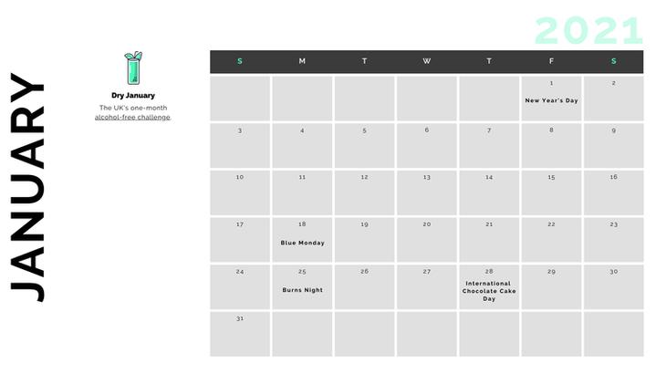 Retail Marketing Calendar 2021 - January