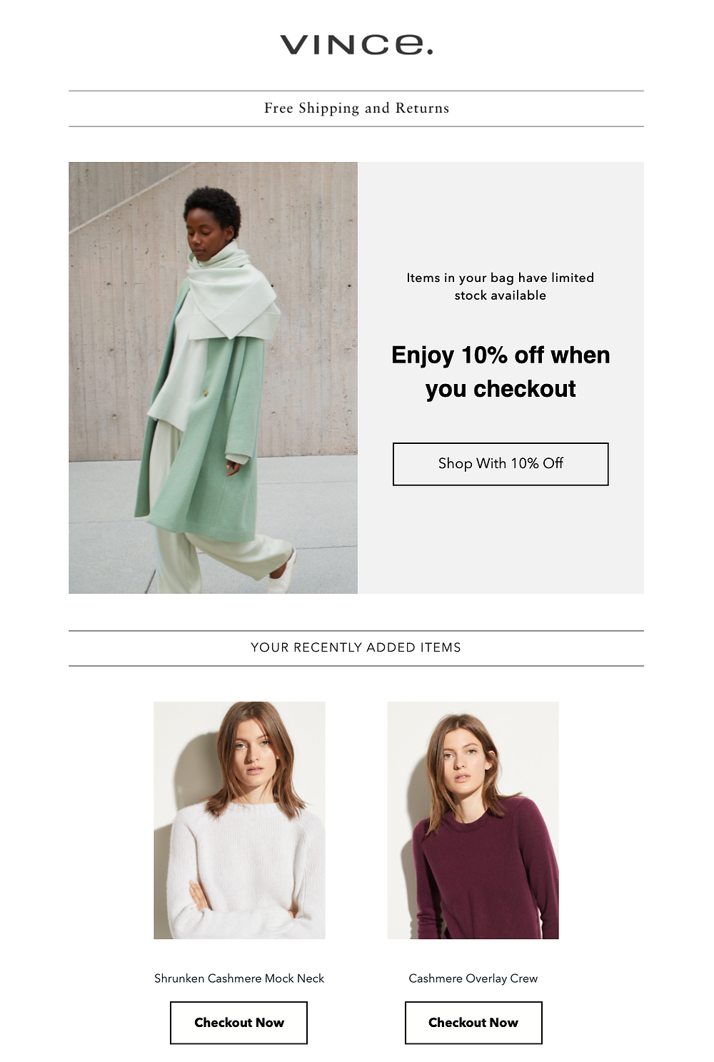 Vince Abandoned Cart Email Offering a Discount