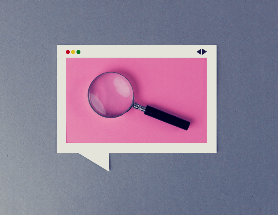 Speech bubble with a magnifying glass