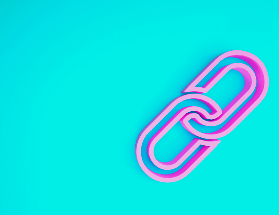 Blue background with a pink link icon