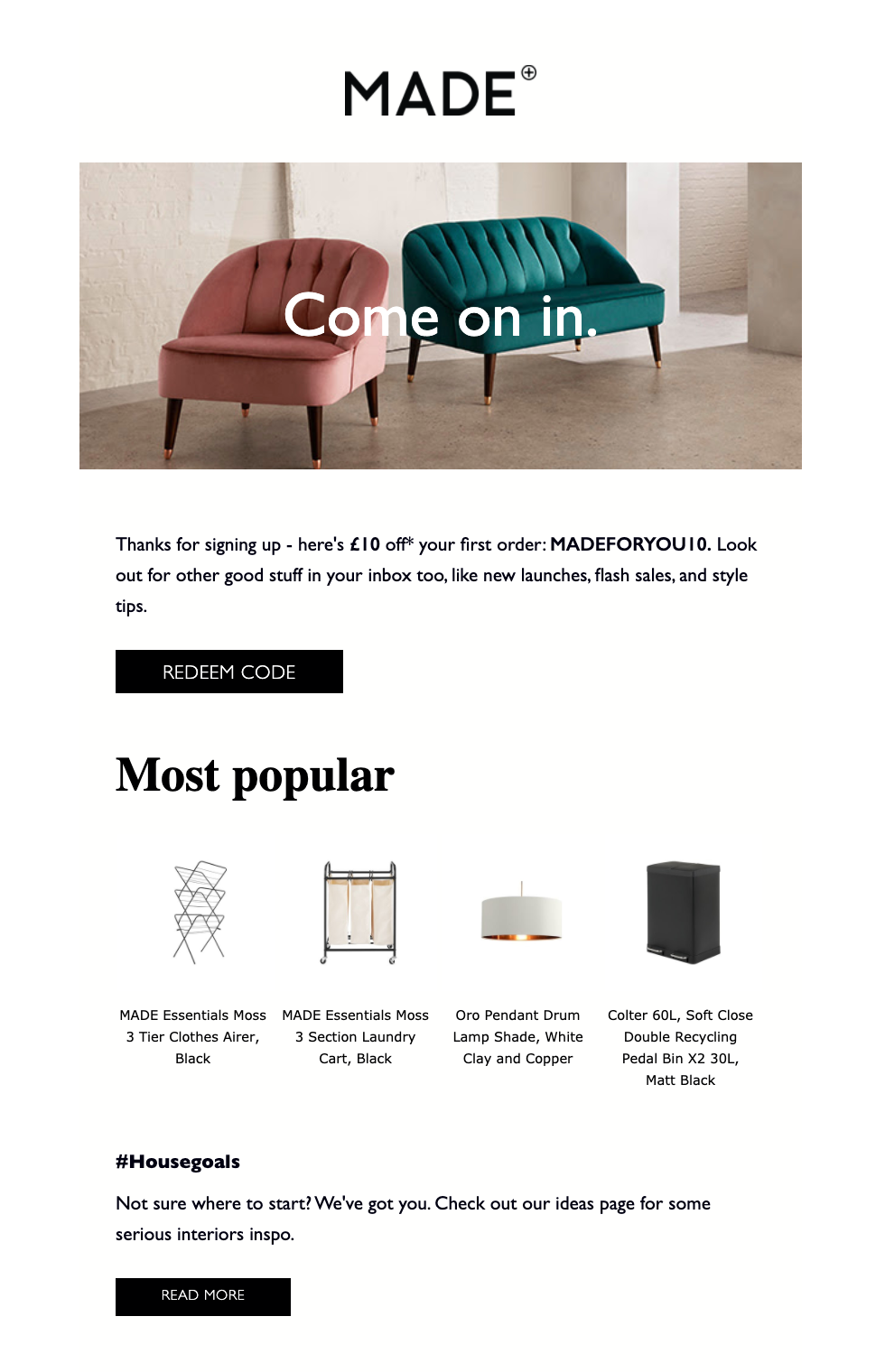 MADE.com Welcome Email With Discount Code