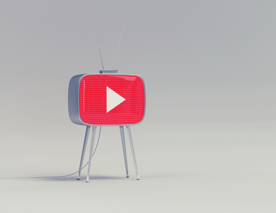 Grey background with a vintage-style TV displaying YouTube's logo