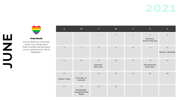 Retail Marketing Calendar 2021 - June