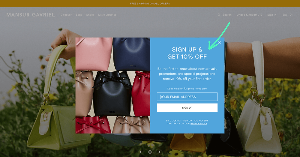 Mansur Gavriel pop up offering a discount to new newsletter subscribers