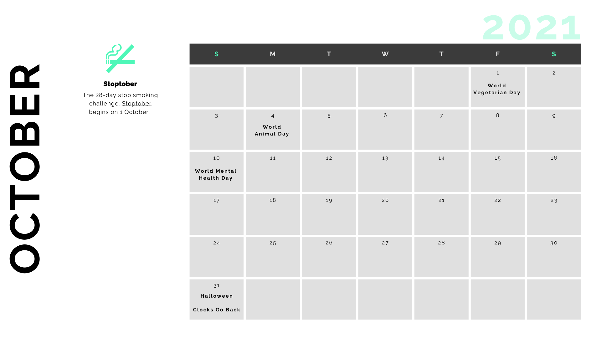 Retail Marketing Calendar 2021 - October
