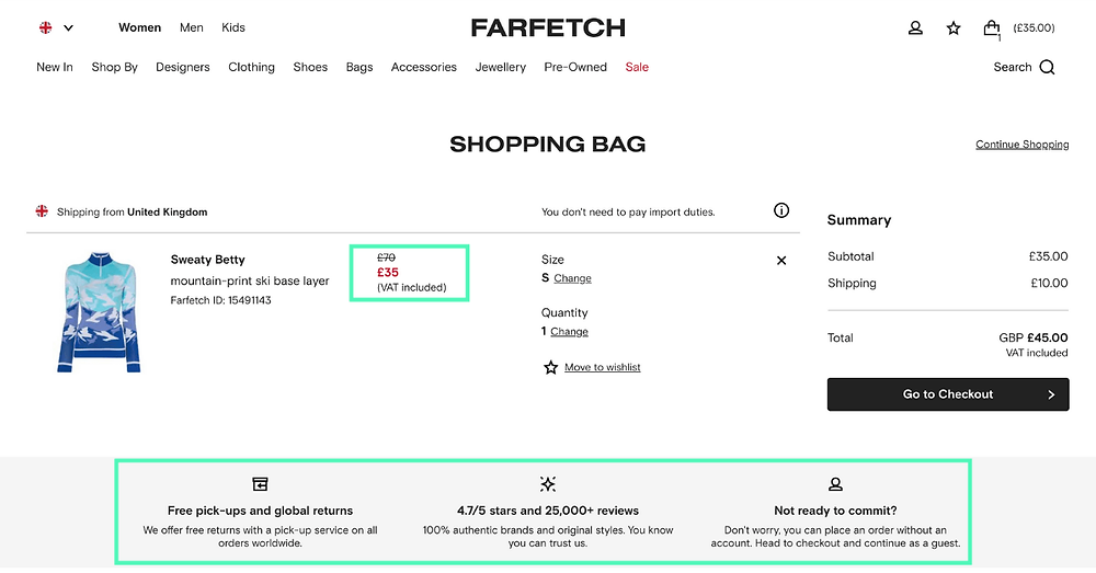 Farfetch one page checkout.  Users can clearly view the offer at checkout and includes information on shipping and returns and customer service contacts.