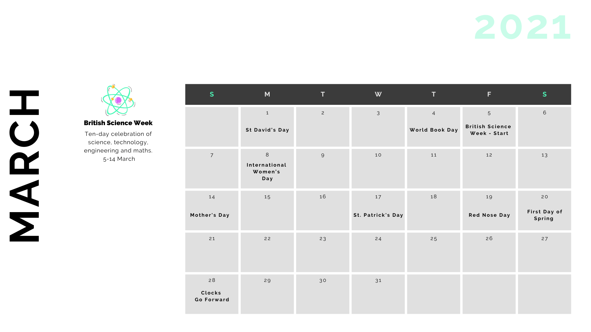 Retail Marketing Calendar 2021 - March
