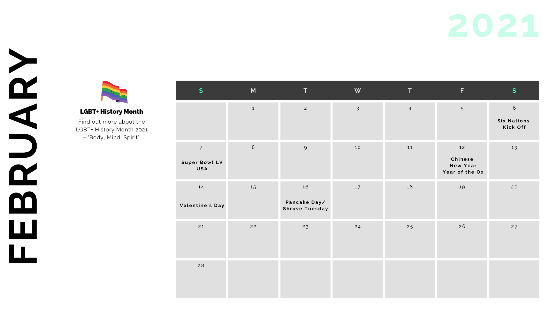 Retail Marketing Calendar 2021 - February