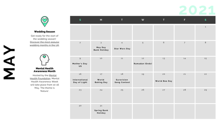 Retail Marketing Calendar 2021 - May