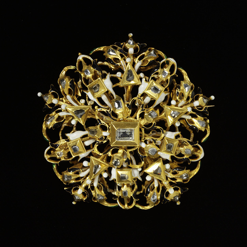 Enamelled gold brooch, about 1630-40. Prague (possible).