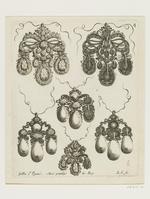 Plate 4 of the suite of 12 designs for jewellery entitled 'Livres des Ouvrages d'Orfevrerie'. Paris, 1663. Gilles Légaré