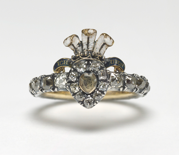 English enamelled gold and silver diamonds ring with hair, 1730.