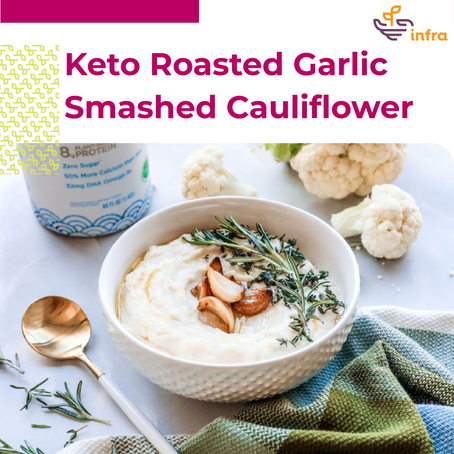 Keto Roasted Garlic Smashed Cauliflower