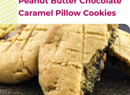 Peanut Butter Chocolate Caramel Pillow Cookies