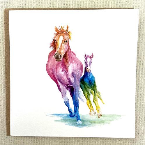 "Horses card  6""x6"""
