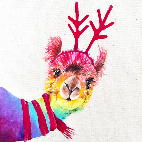"""Llama with Antlers Christmas Card 6""""x6"""""""