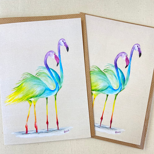 "Flamingos card 5""x7"""