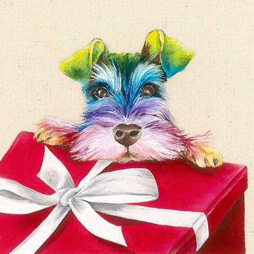 "Schnauzer Christmas Card 6""x6"""