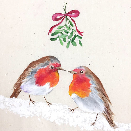 "Robins Christmas Card 6""x6"""