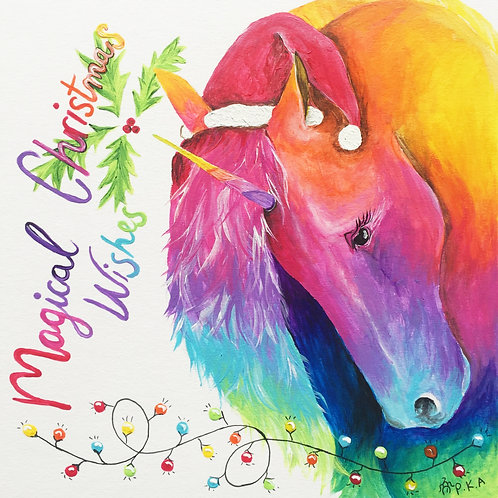 "Unicorn Christmas Card 6""x6"""