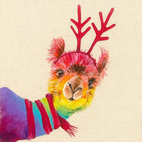 "Llama Christmas Card 6""x6"""